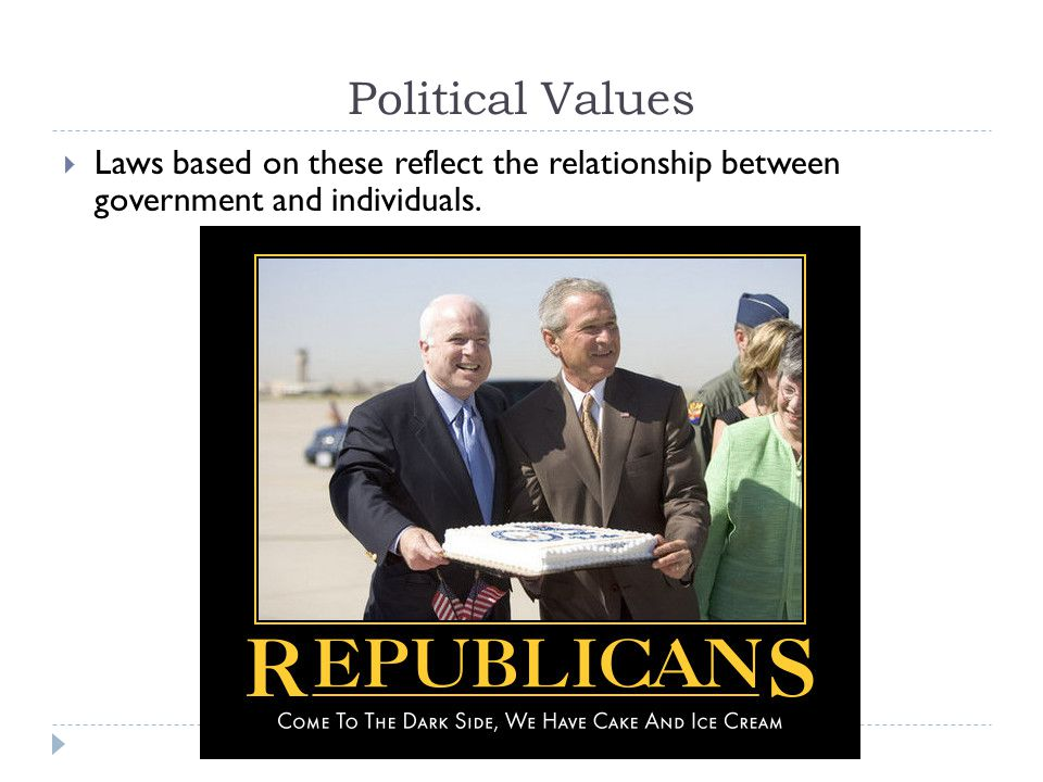 Political Values Laws based on these reflect the relationship between government and individuals.
