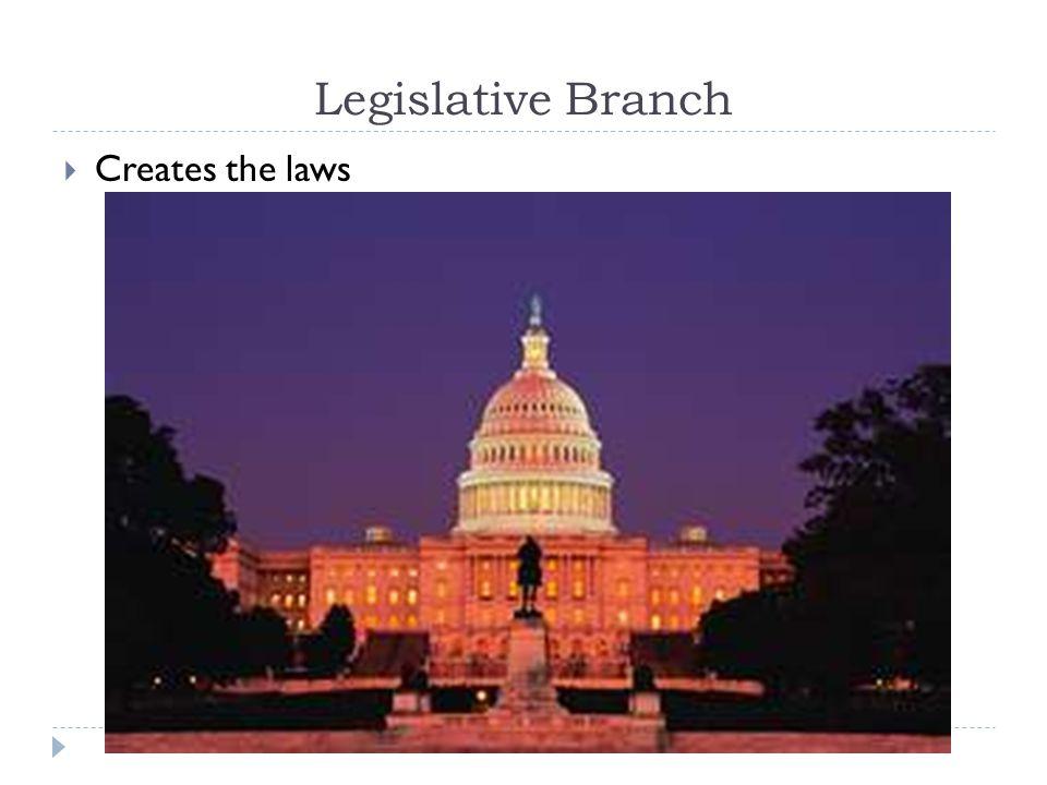 Legislative Branch Creates the laws