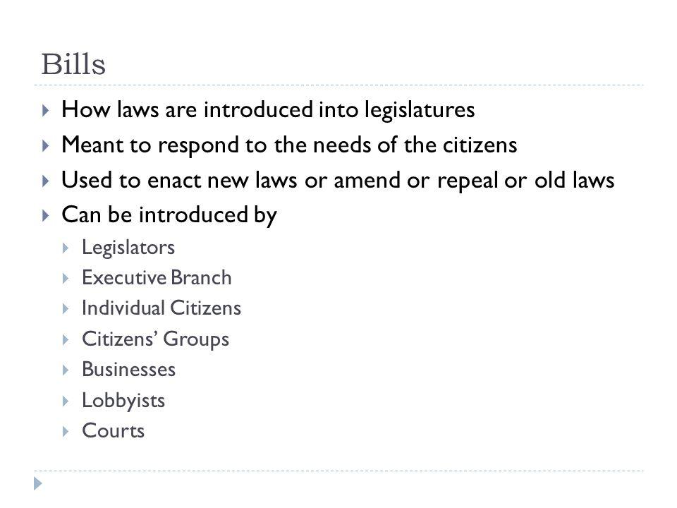 Bills How laws are introduced into legislatures