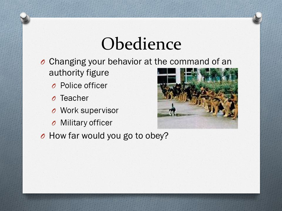 Obedience Changing your behavior at the command of an authority figure