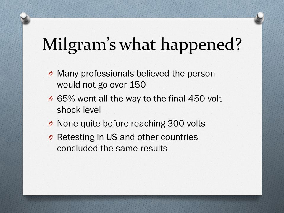 Milgram's what happened