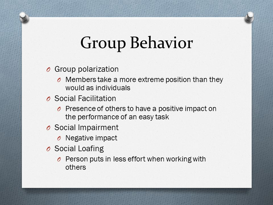 Group Behavior Group polarization Social Facilitation