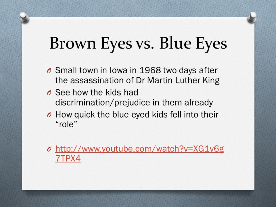 Brown Eyes vs. Blue Eyes Small town in Iowa in 1968 two days after the assassination of Dr Martin Luther King.