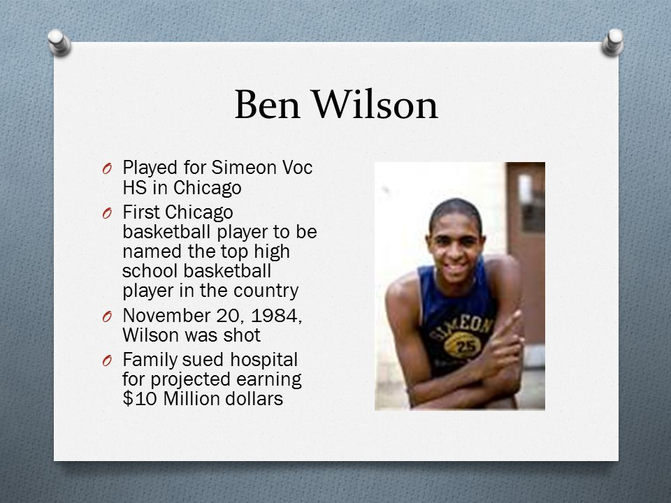 Ben Wilson Played for Simeon Voc HS in Chicago