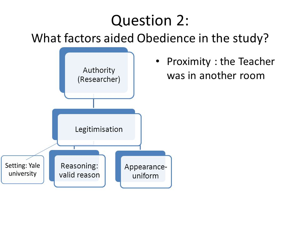 Question 2: What factors aided Obedience in the study
