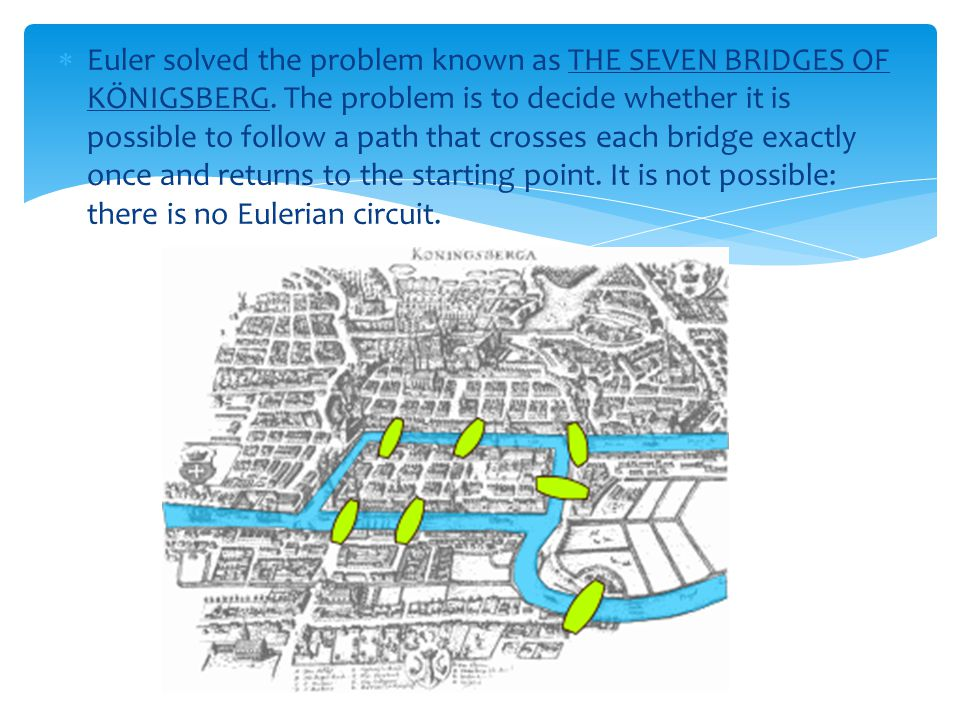 Euler solved the problem known as THE SEVEN BRIDGES OF KÖNIGSBERG