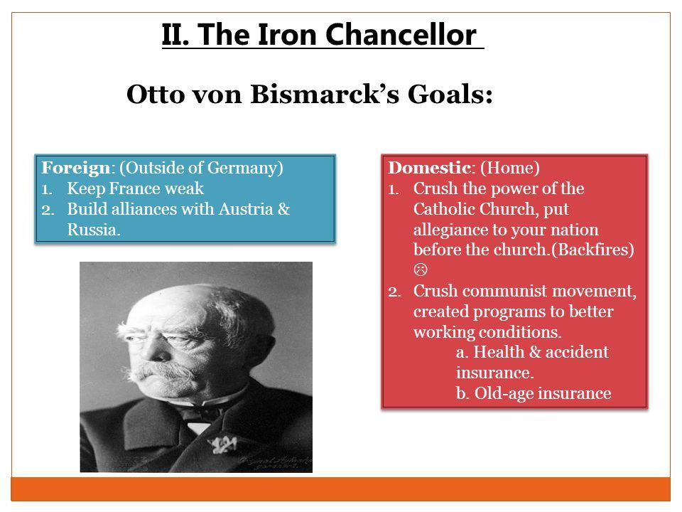 II. The Iron Chancellor Otto von Bismarck's Goals: