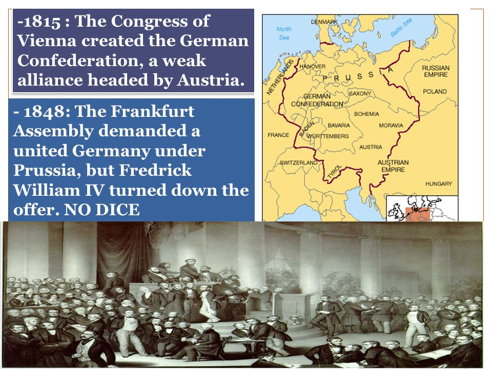 -1815 : The Congress of Vienna created the German Confederation, a weak alliance headed by Austria.