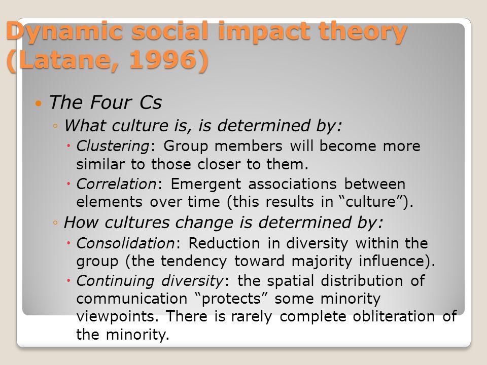 Dynamic social impact theory (Latane, 1996)