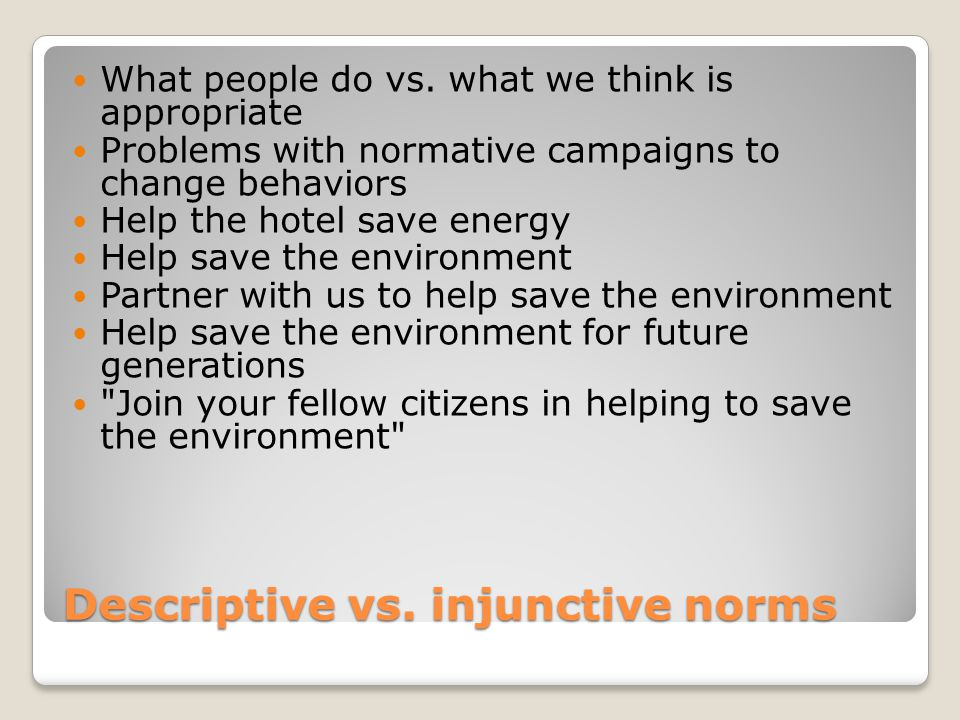 Descriptive vs. injunctive norms