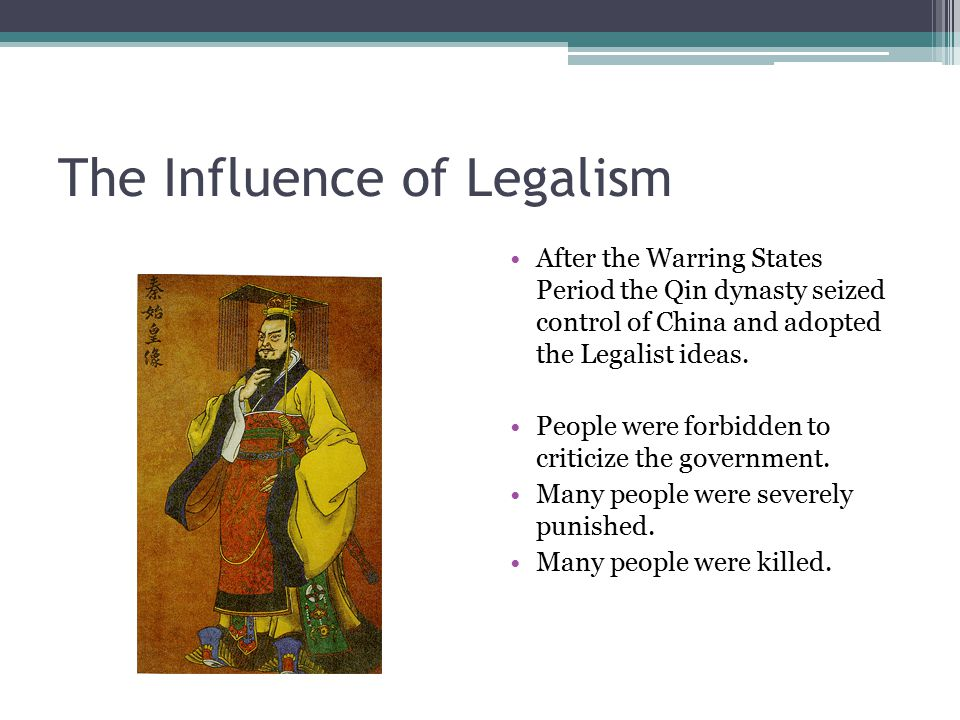 legalism in china Running head: the ch'in dynasty and legalism in ancient china the ch'in dynasty and legalism in ancient china the ch'in dynasty and legalism in china the philosophical principles that legalism was based upon, set it apart from other chinese philosophical views.