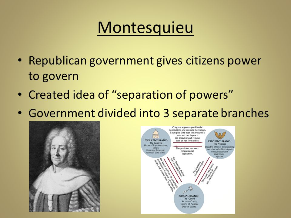 Montesquieu Republican government gives citizens power to govern