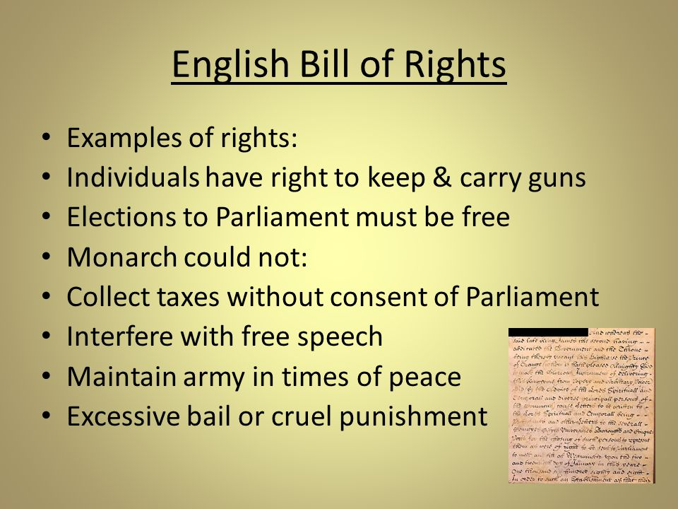 English Bill of Rights Examples of rights: