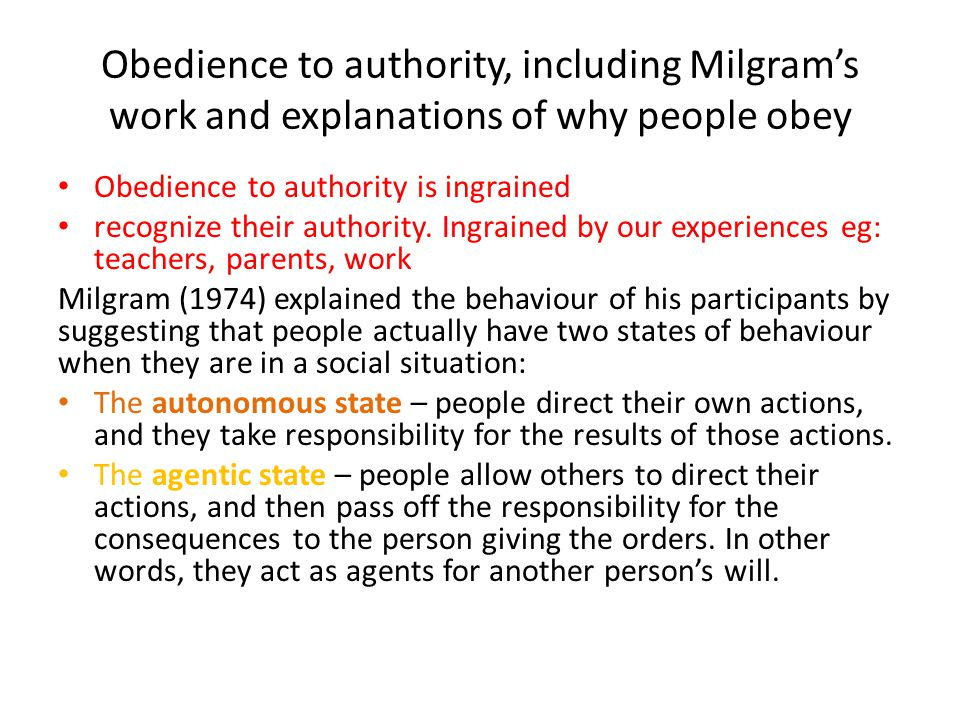 Obedience to authority, including Milgram's work and explanations of why people obey