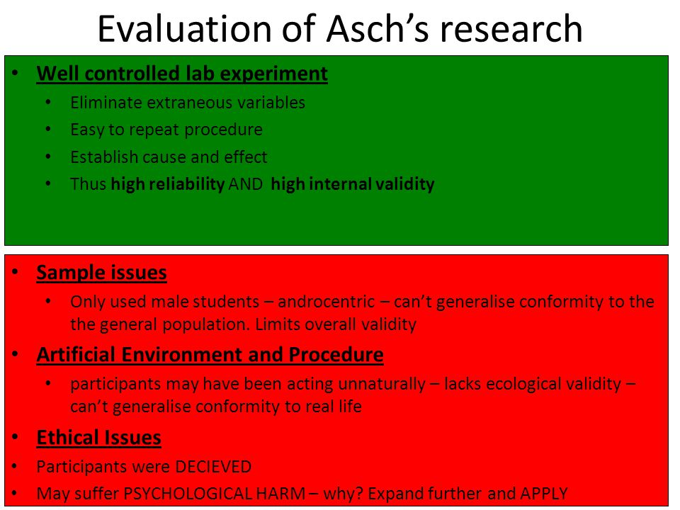 Evaluation of Asch's research