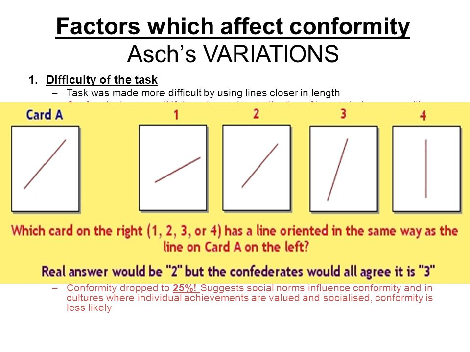 Factors which affect conformity Asch's VARIATIONS