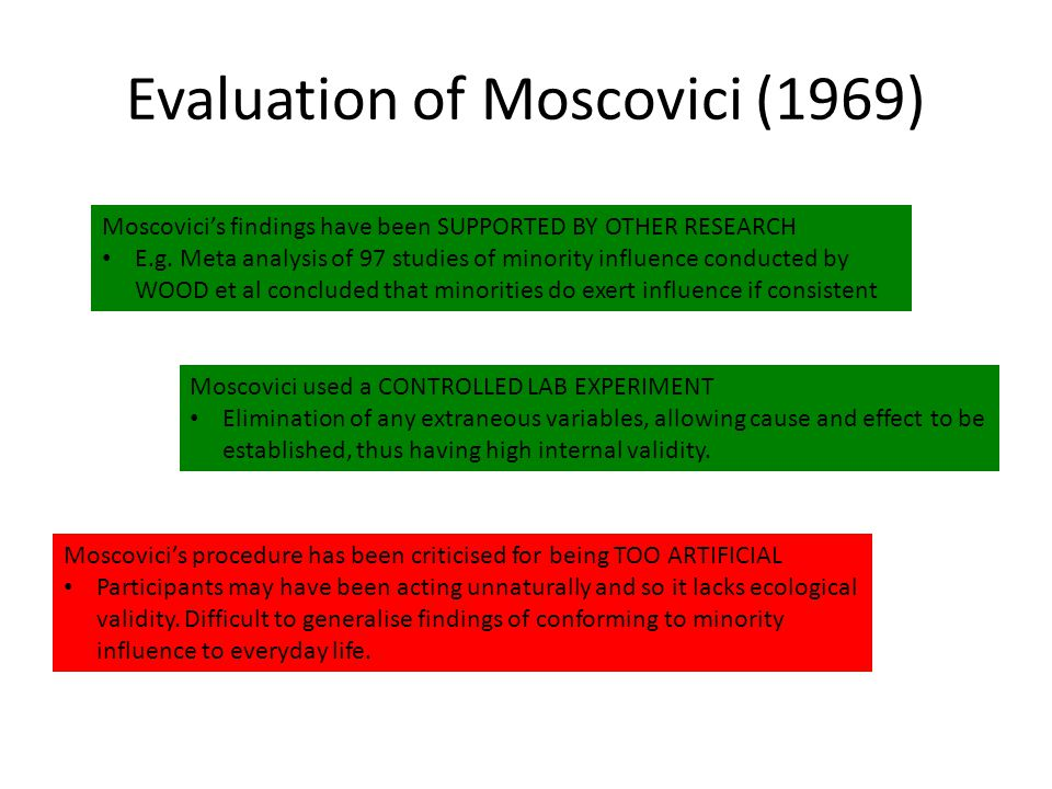 Evaluation of Moscovici (1969)