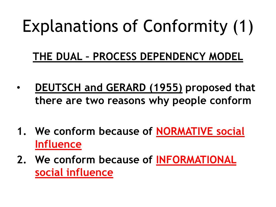 Explanations of Conformity (1)