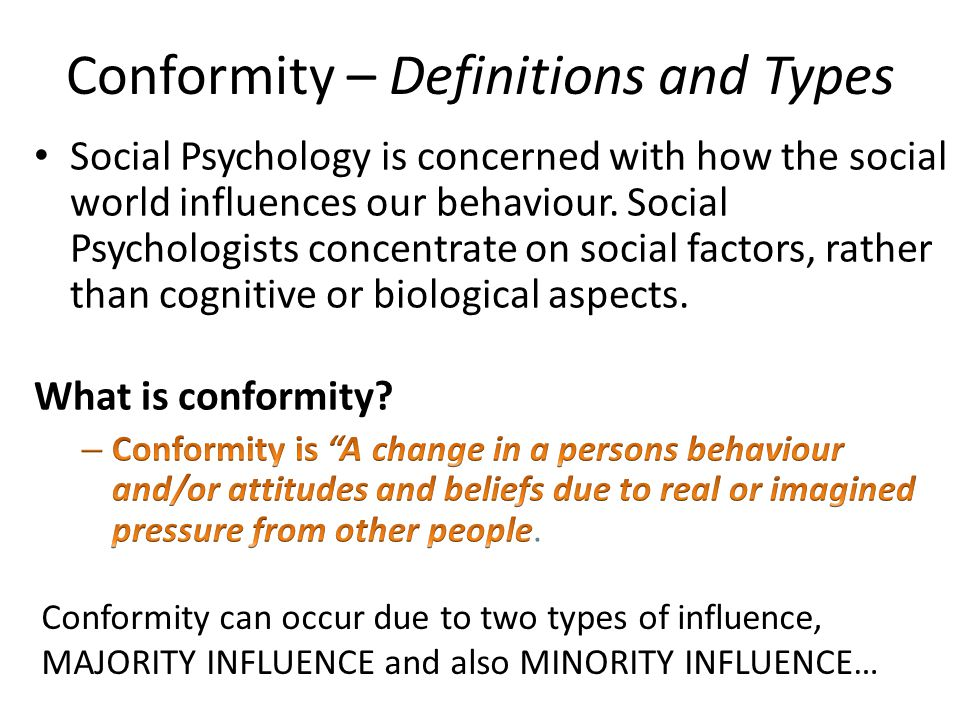 What are the four different types of conformity in psychology?