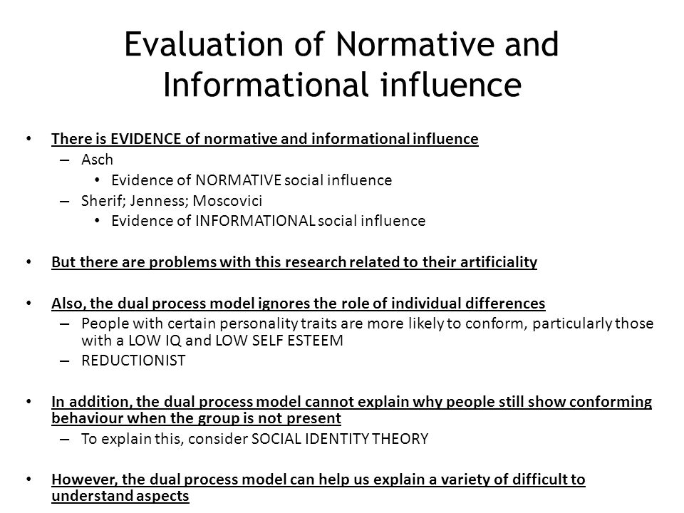 Evaluation of Normative and Informational influence