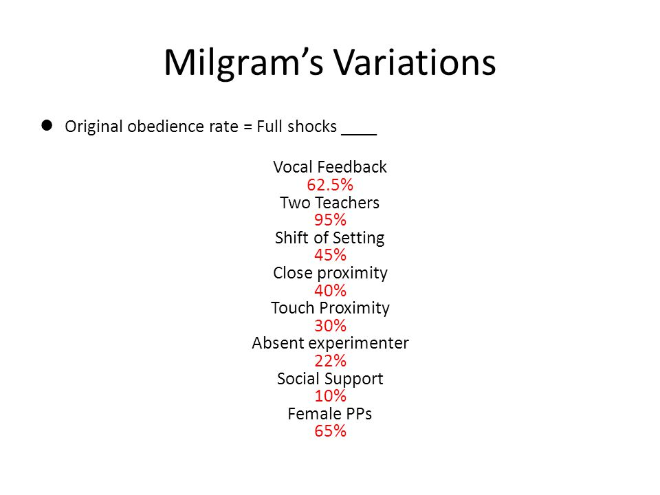 Milgram's Variations Original obedience rate = Full shocks ____