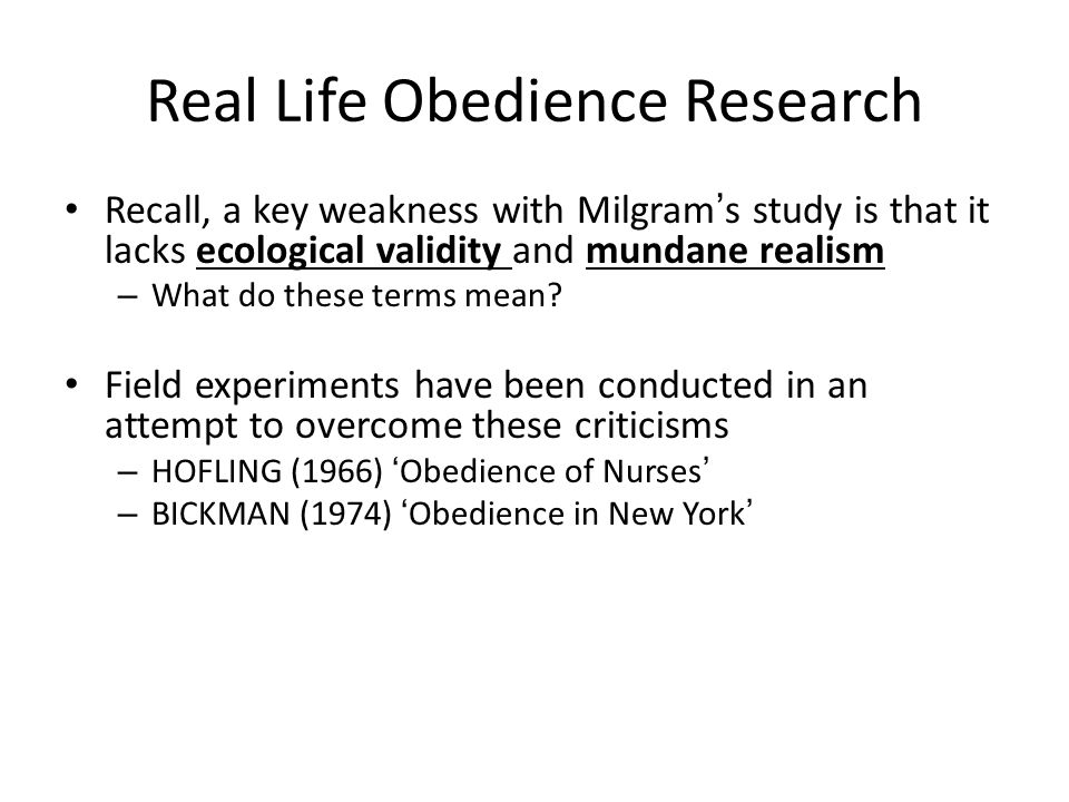 Real Life Obedience Research