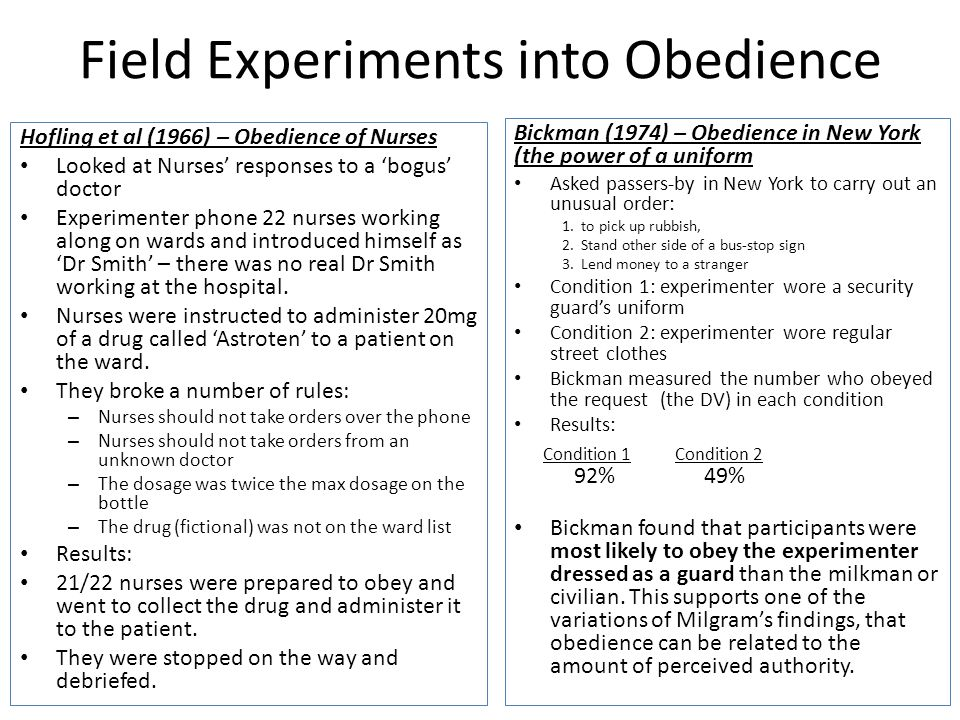 Field Experiments into Obedience