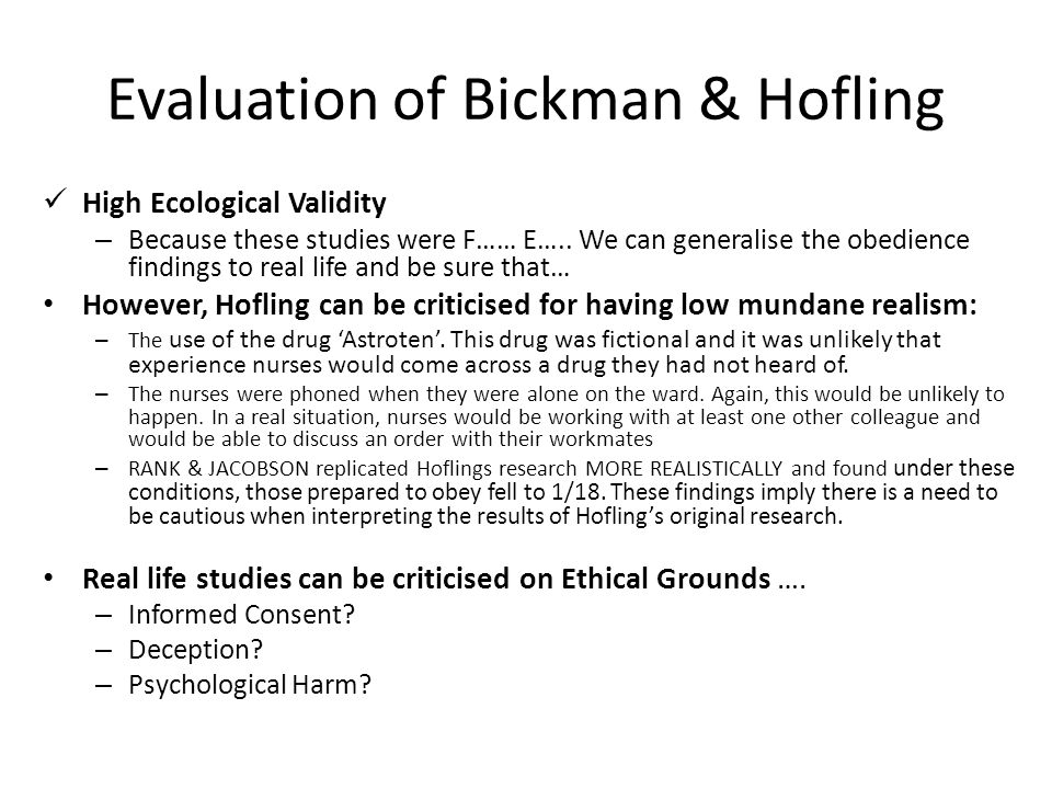 Evaluation of Bickman & Hofling