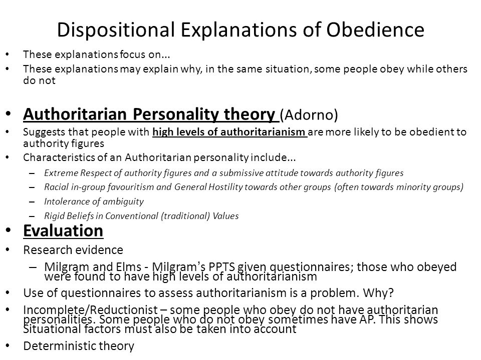 Dispositional Explanations of Obedience