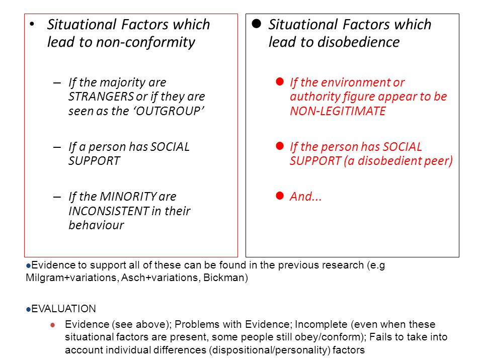 Situational Factors which lead to non-conformity