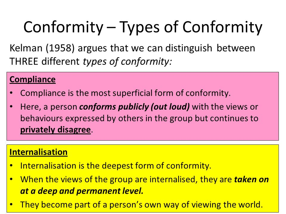 Conformity – Types of Conformity
