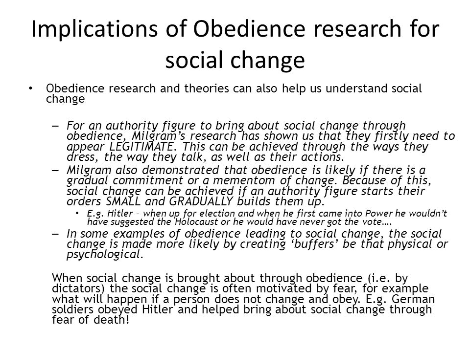 Implications of Obedience research for social change