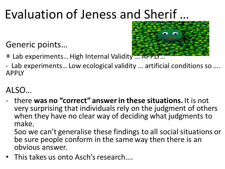 Evaluation of Jeness and Sherif …