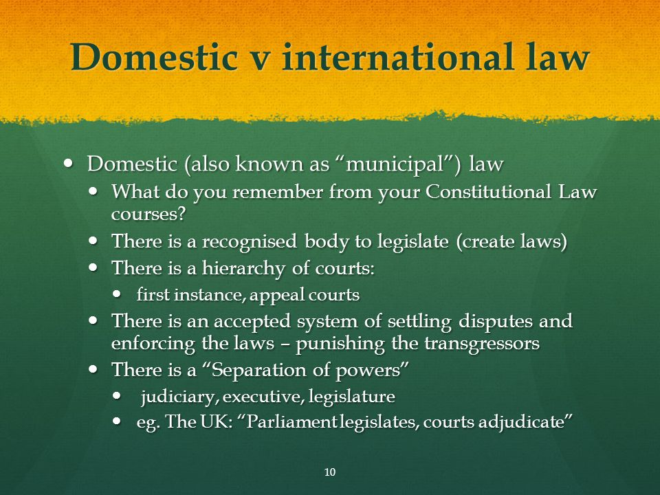 Domestic v international law