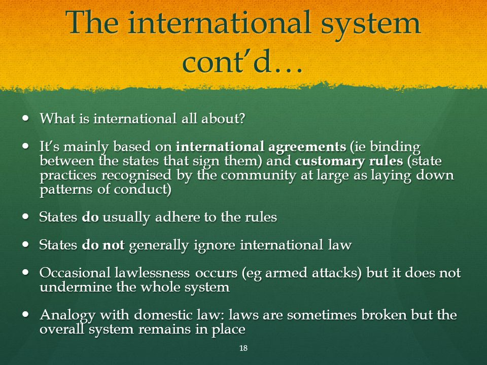 The international system cont'd…
