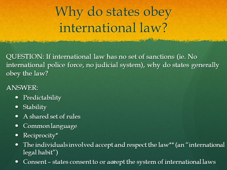 Why do states obey international law