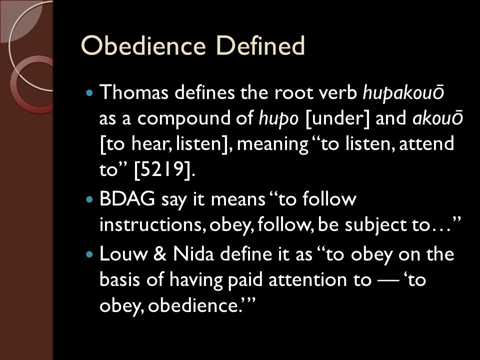 Obedience Defined