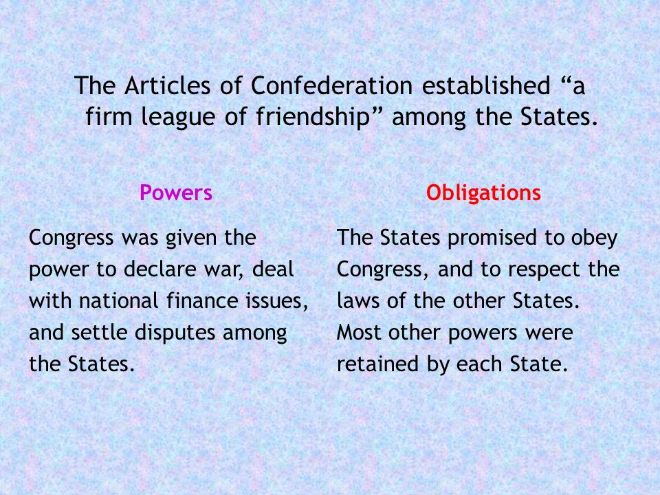 The Articles of Confederation established a firm league of friendship among the States.