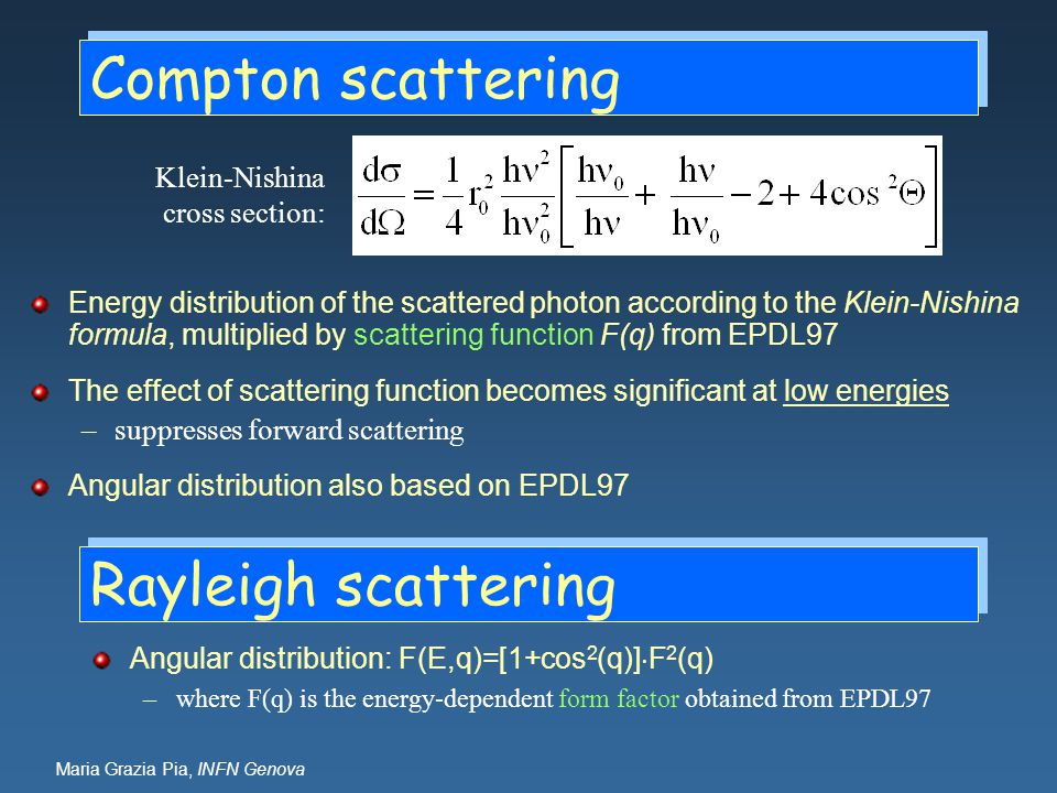 Compton scattering Rayleigh scattering Klein-Nishina cross section: