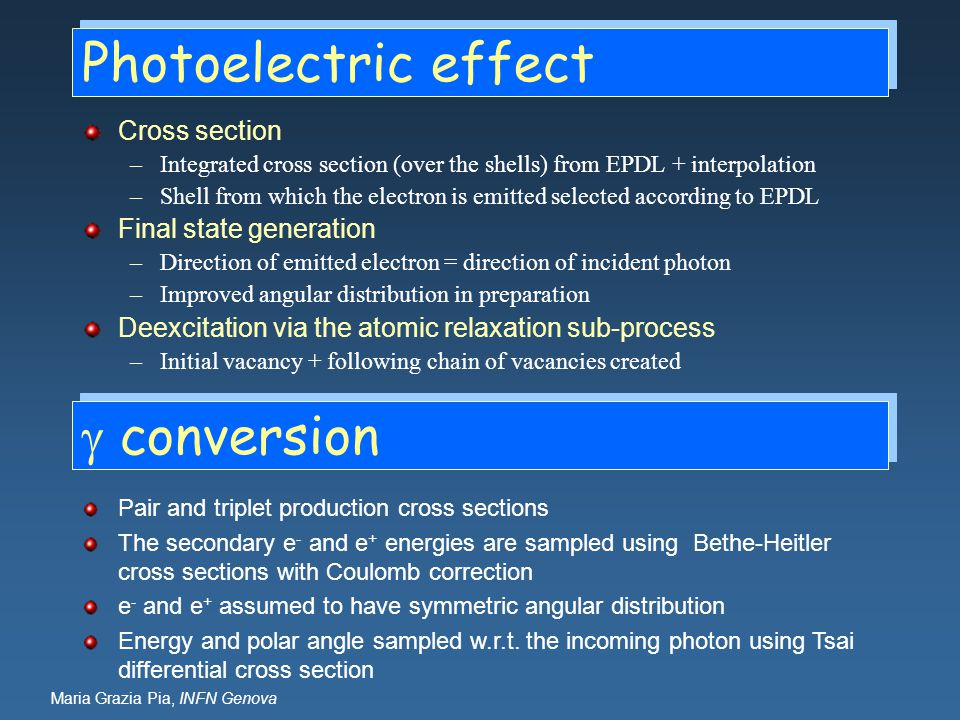 Photoelectric effect g conversion Cross section Final state generation