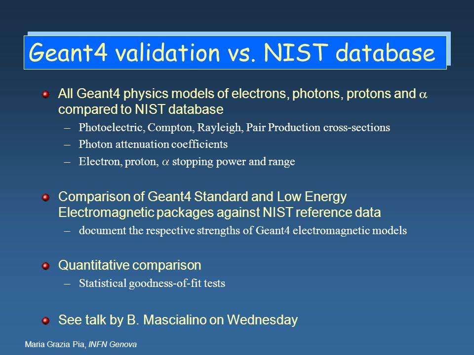 Geant4 validation vs. NIST database