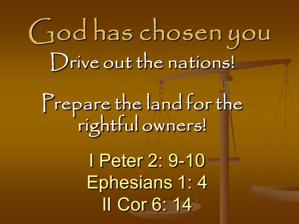Prepare the land for the rightful owners!