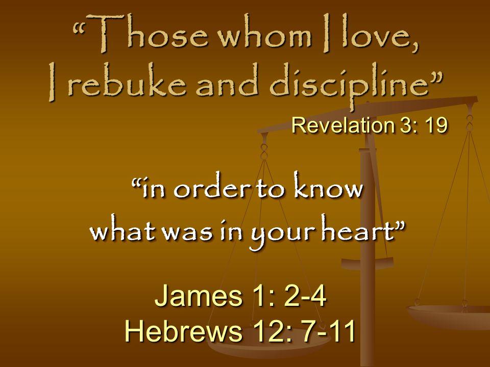 Those whom I love, I rebuke and discipline