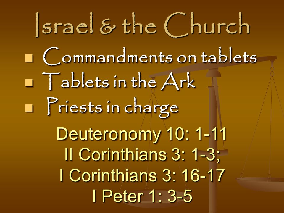 Israel & the Church Commandments on tablets Tablets in the Ark