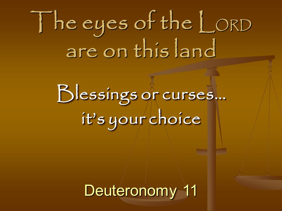 The eyes of the LORD are on this land
