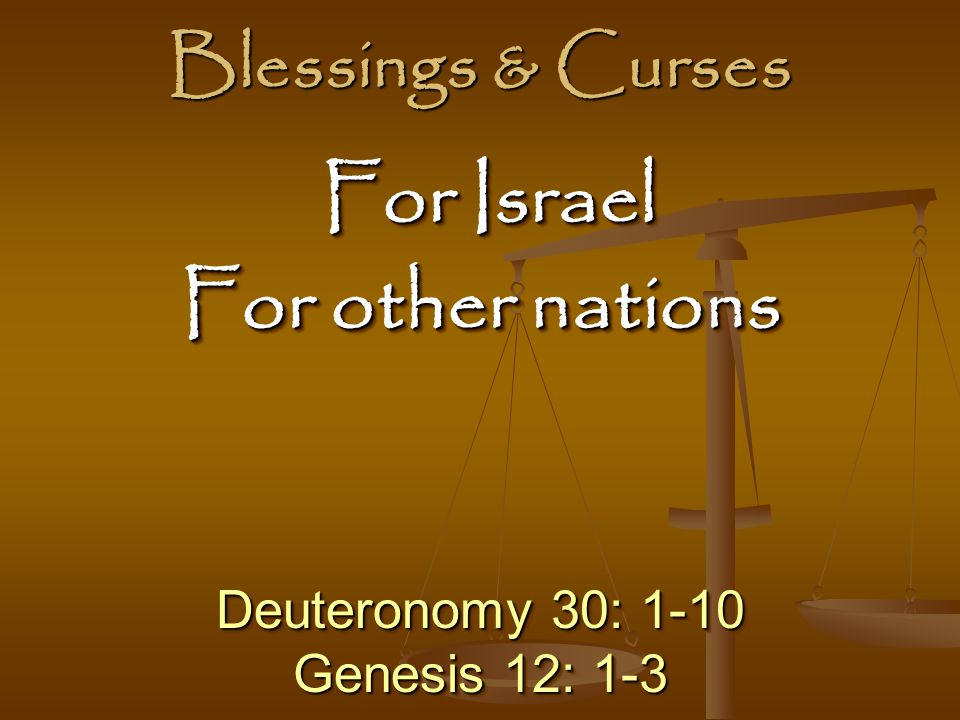 For Israel For other nations