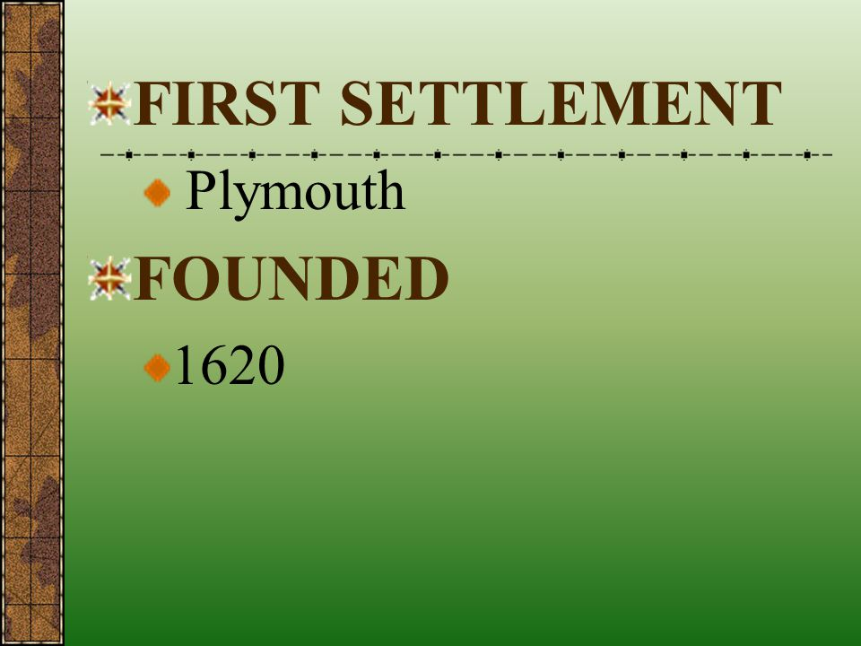 FIRST SETTLEMENT Plymouth FOUNDED 1620