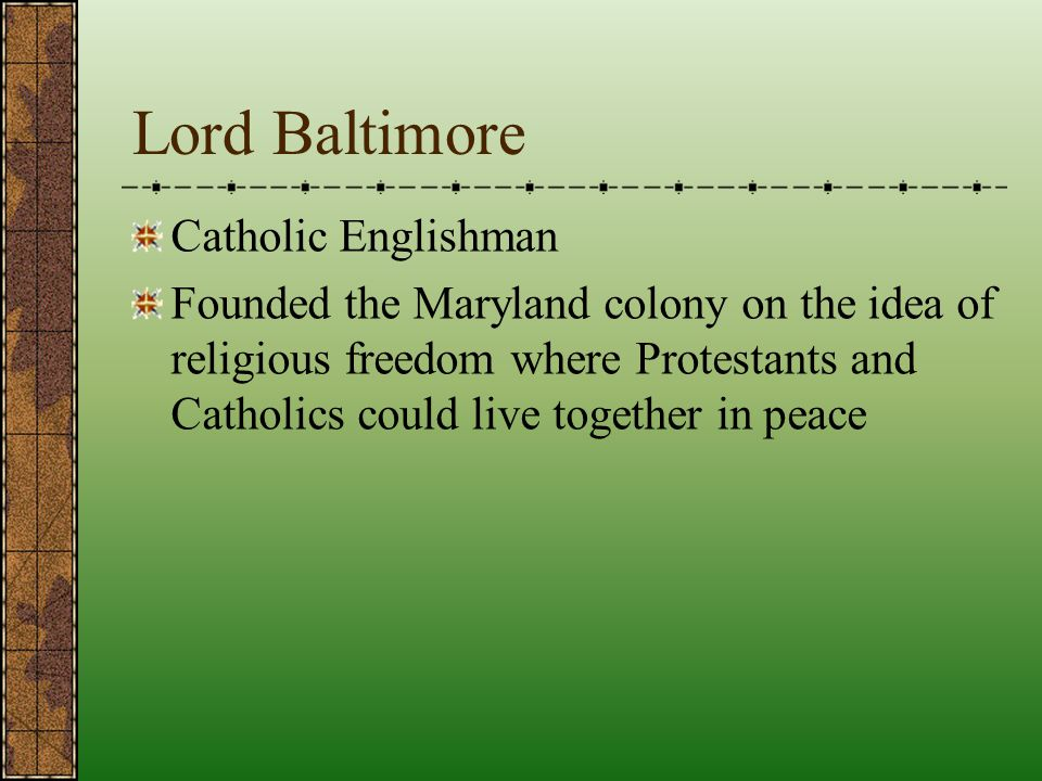 Lord Baltimore Catholic Englishman