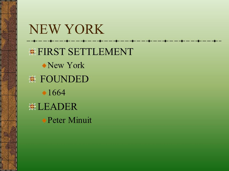 NEW YORK FIRST SETTLEMENT New York FOUNDED 1664 LEADER Peter Minuit
