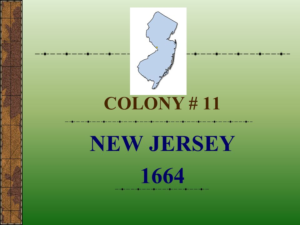 COLONY # 11 NEW JERSEY 1664